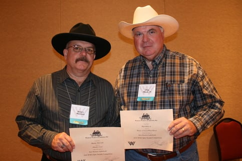 Phil Mills Jr. Receiving Western Writers of America Spur Award Finalist Certificate with Monty McCord